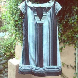 Zara flax and linen navy/white striped tunic/dress